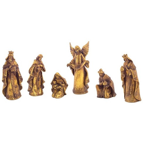 """Diva At Home Set of 6 Gold Colored Religious Nativity Scene Christmas Tabletop Figures 9.5"""" - image 1 of 1"""