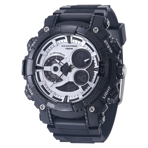Men's U.S. Air Force C40 Multifunction Watch By Wrist Armor, Silver And Black Dial, Rubber Strap - image 1 of 3