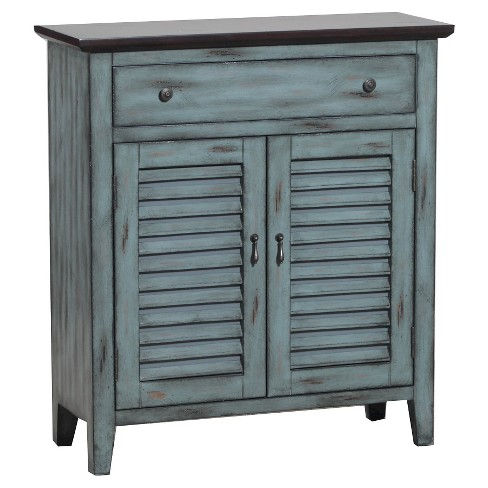 Charlotte TwoTone Shutter Cabinet Antique Blue - Powell Company - image 1 of 1