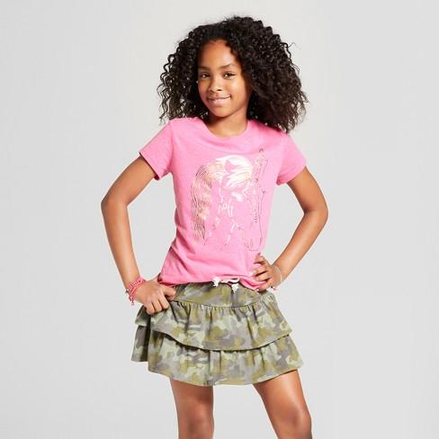 Girls' Short Sleeve Unicorn Graphic T-Shirt - Cat & Jack™ Pink - image 1 of 3