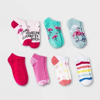 Girls' 7pk Flamingo No Show Socks - Cat & Jack™ Light Blue