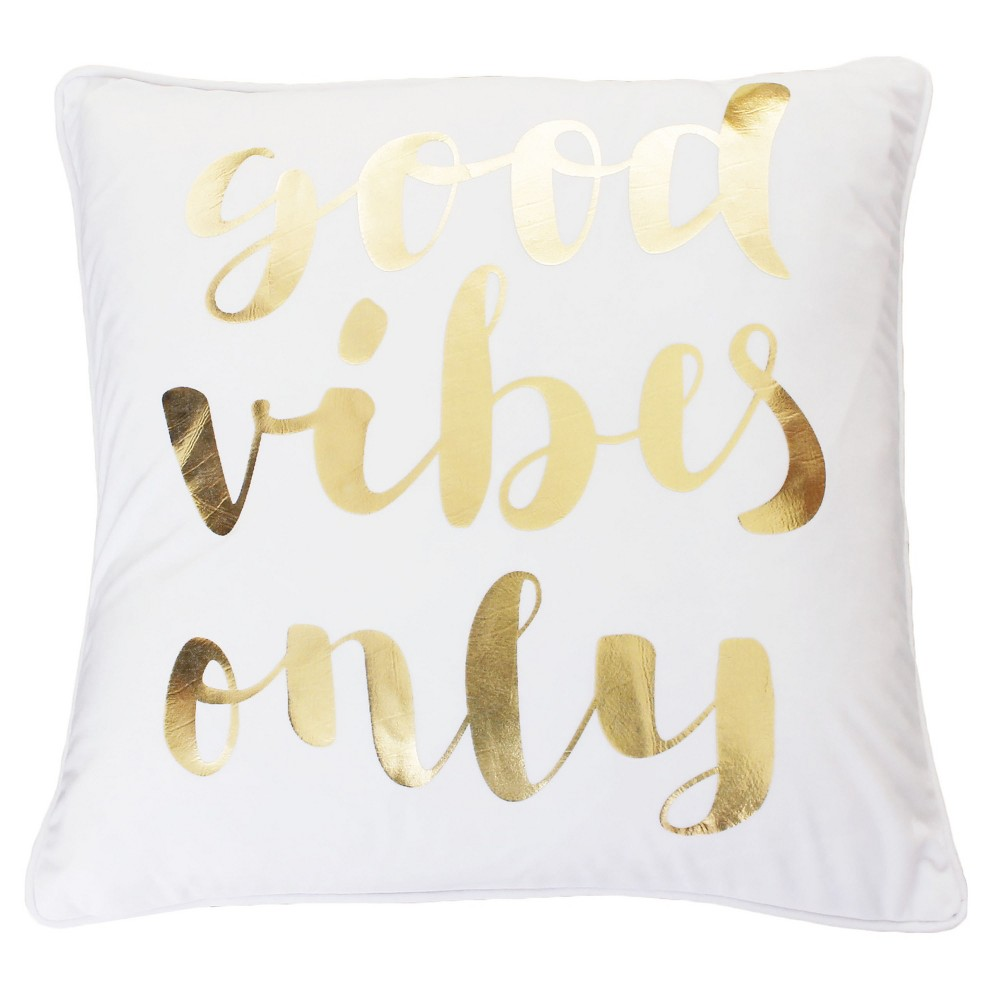 Image of Good Vibes Only' Oversize Square Throw Pillow White - Decor Therapy