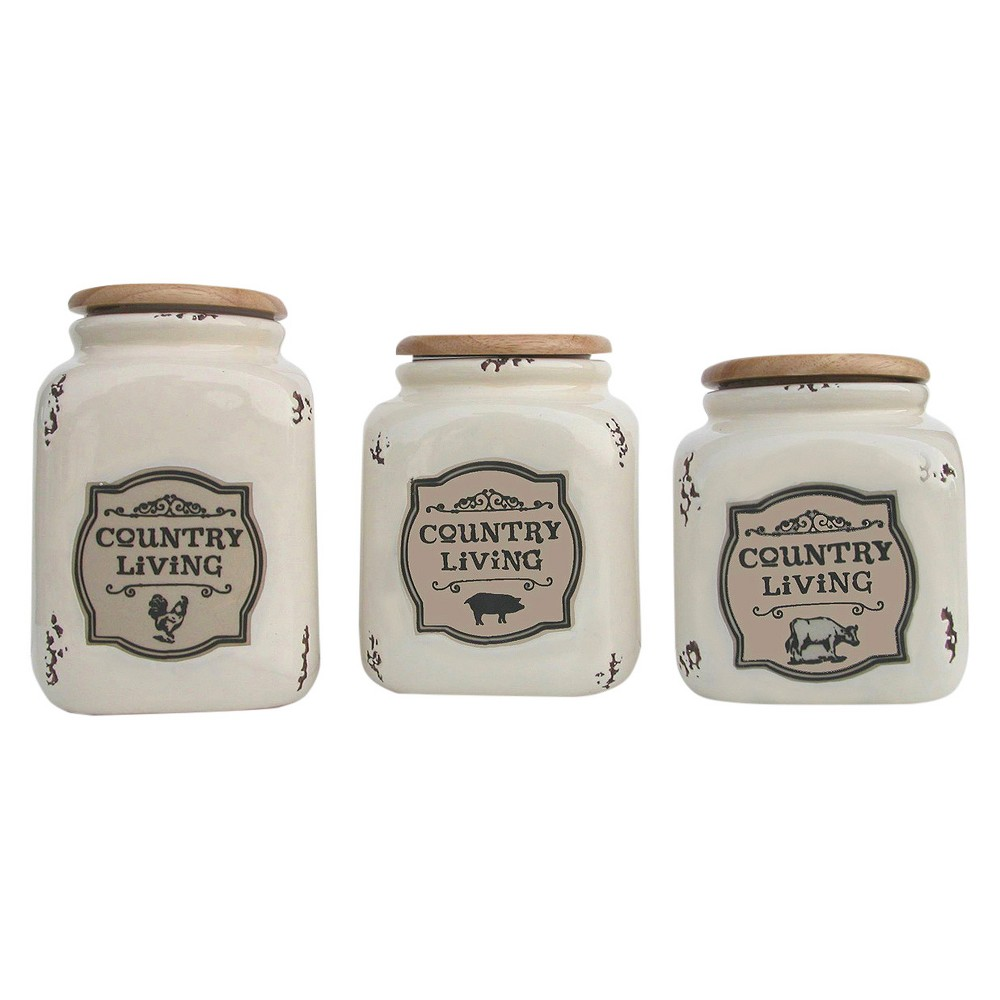 Image of Country Living Canister Set of 3 Off-White (Beige) 48oz/64oz/96oz - Drew DeRose