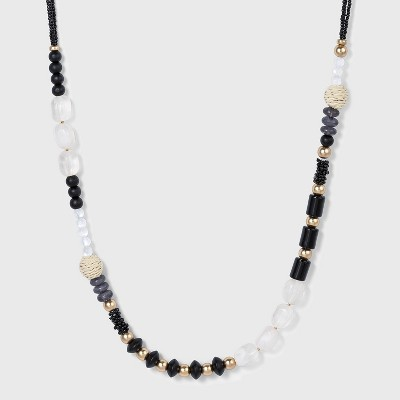 Seed Bead Station Necklace - A New Day™ Black