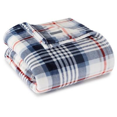 Summit Plaid Plush Blanket (Full/Queen)Blue - Eddie Bauer®