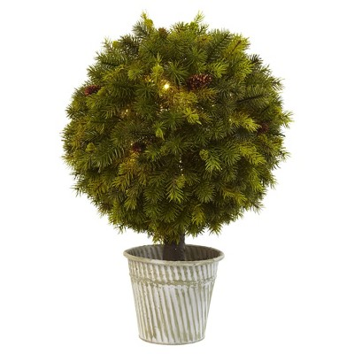 "Topiary Pine Ball with LED Lights in Iron Pot (23"") - Nearly Natural"