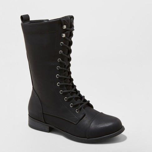 Women's Lene Faux Leather Lace Up Fashion Bootie - Universal Thread™ Black - image 1 of 3