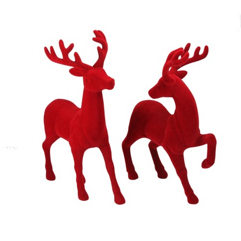"""92b313904 Roman Set of 2 Red Textured Standing Reindeer Christmas Tabletop Decoration  18"""""""