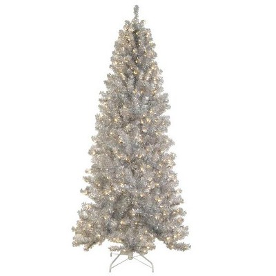 Allstate Floral 6.5' Prelit Artificial Christmas Tree Tinsel Noble Pine Silver - Clear Lights