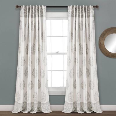 Set of 2 Teardrop Leaf Room Darkening Window Curtain Panels - Lush Décor