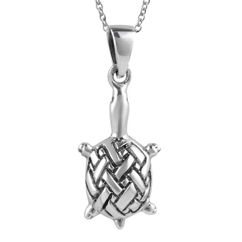 """Women's Journee Collection Celtic Turtle Pendant Necklace in Sterling Silver - Silver (18"""") - image 1 of 2"""
