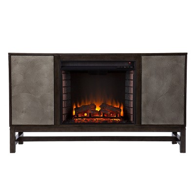 Tifchar Electric Fireplace with Media Storage Brown/Silver - Aiden Lane