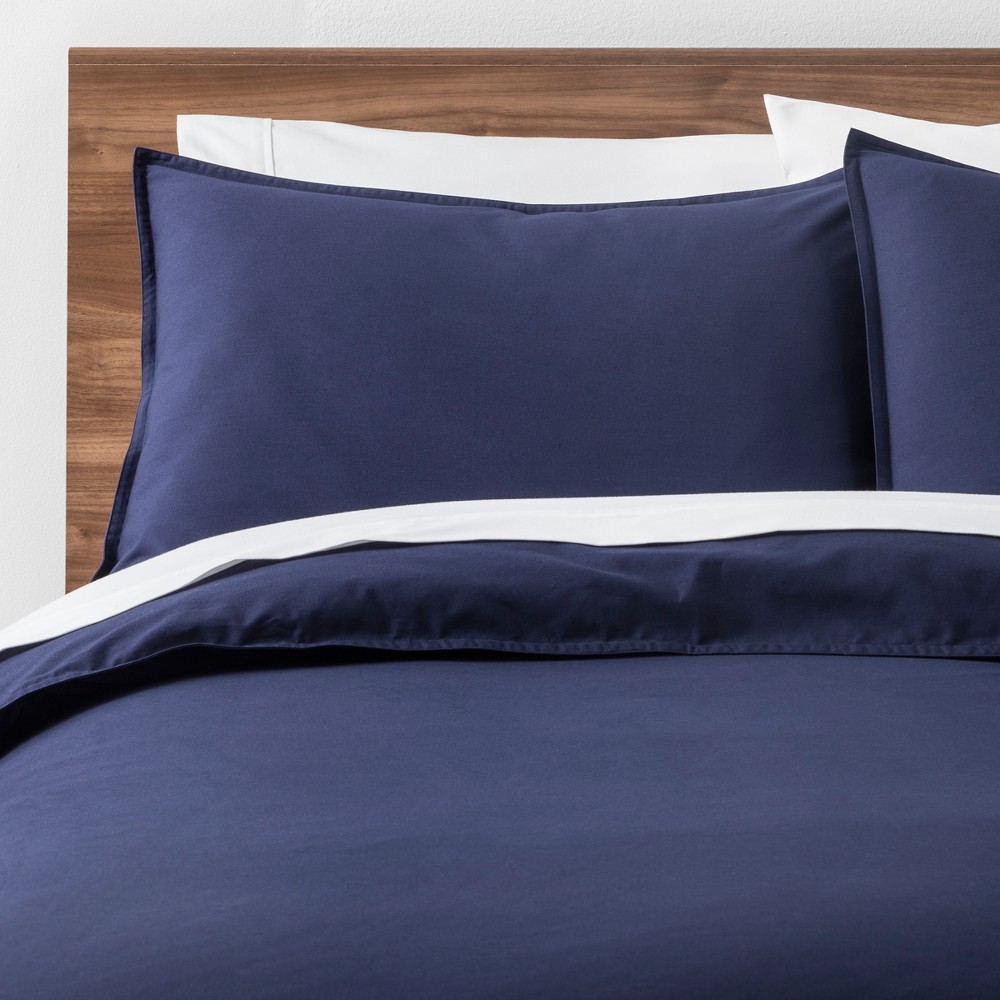 Navy (Blue) Easy Care Solid Duvet Cover Set (Full/Queen) - Made By Design