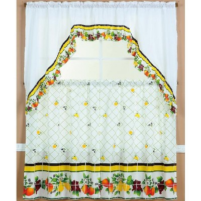 Ramallah Trading Ruffle Fruit Medley Tier and Valance - 60 x 36, Multicolored