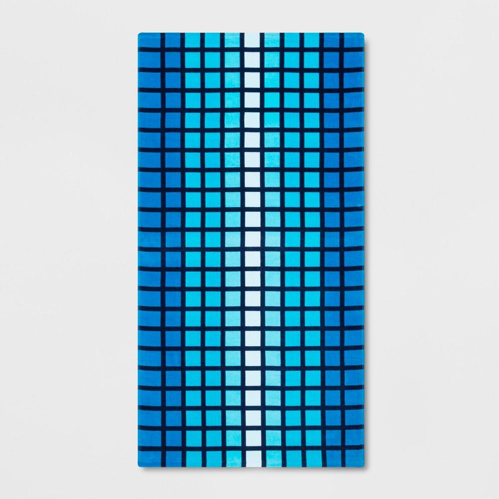 Image of Checkered Beach Towel Blue - Sun Squad