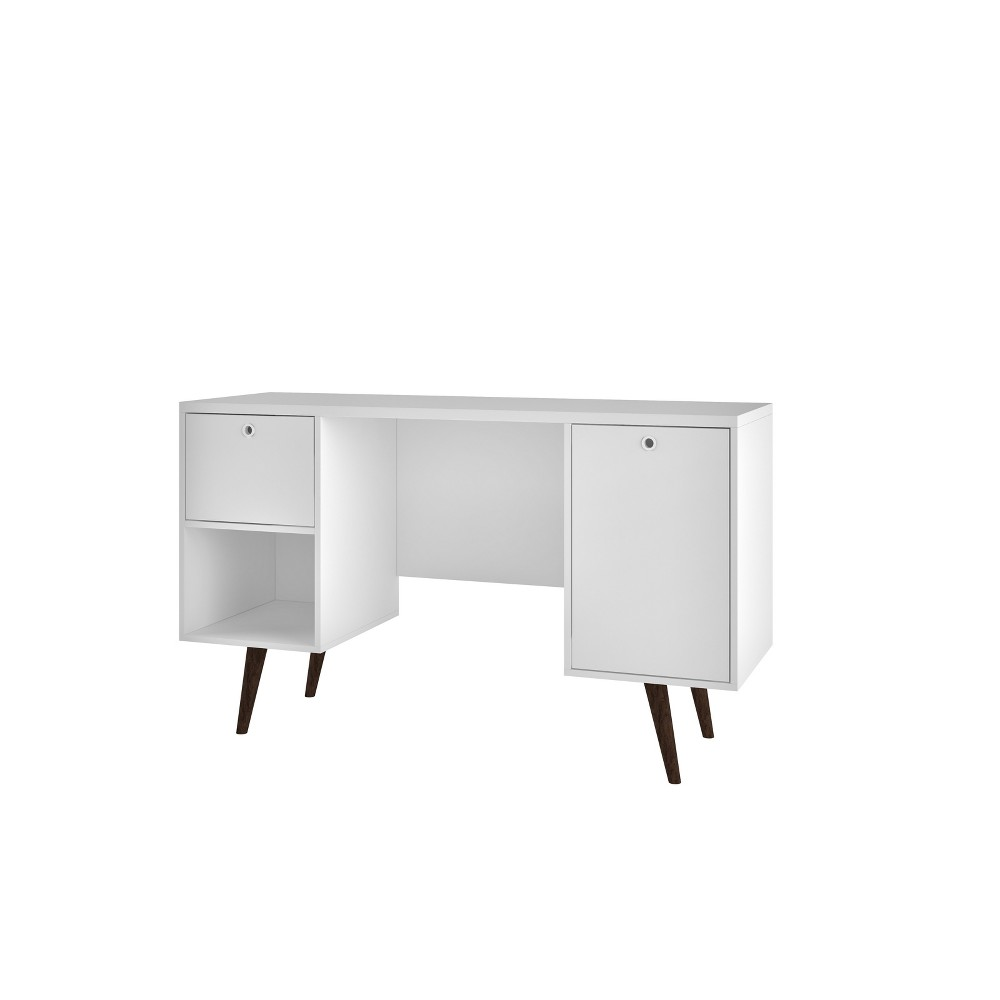 Edgar 1 Drawer Mid Century Office Desk White - Manhattan Comfort