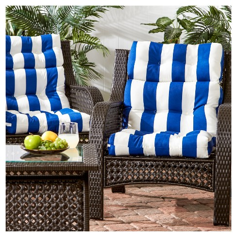Set Of 2 Outdoor High Back Chair Cushions Cabana Stripe Blue Kensington Garden