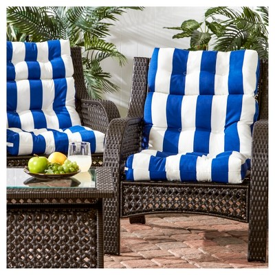 Set Of 2 Outdoor High Back Chair Cushions   Cabana Stripe Blue   Greendale  Home Fashions : Target