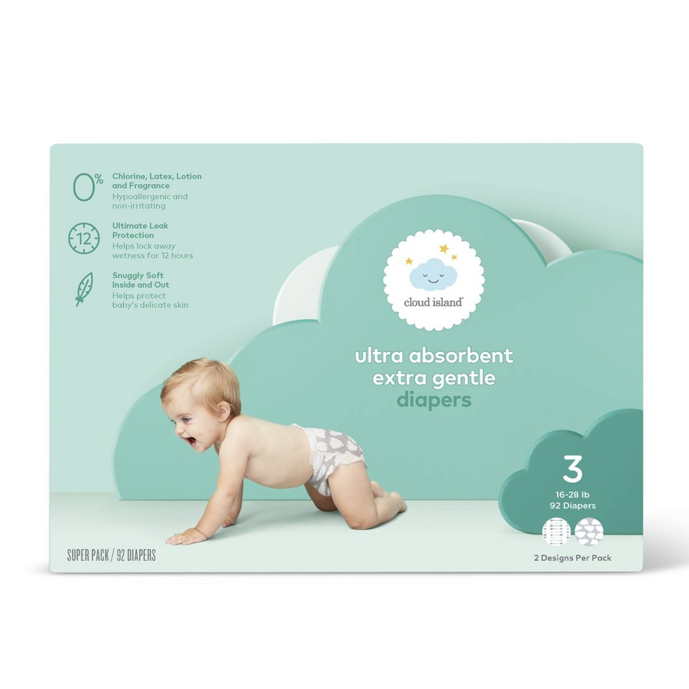 Club Pack Diapers - Size 3 (92ct) - Cloud Island, Multicolored