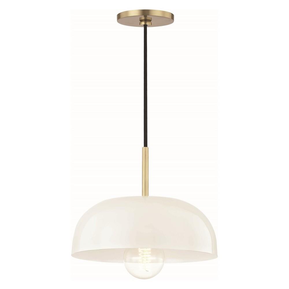 1pc Avery Small Light Pendant Cream/ Brass - Mitzi by Hudson Valley