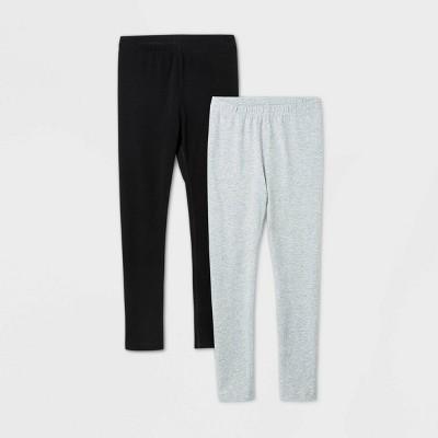 Girls' 2pk Adaptive Leggings - Cat & Jack™ Black/Gray