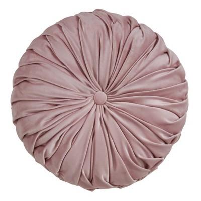 """14"""" Round Velvet Pintucked Poly Filled Throw Pillow Blush - Saro Lifestyle"""
