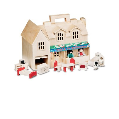 Melissa & Doug Fold & Go Wooden Dollhouse With 2 Play Figures and 11pc of Furniture