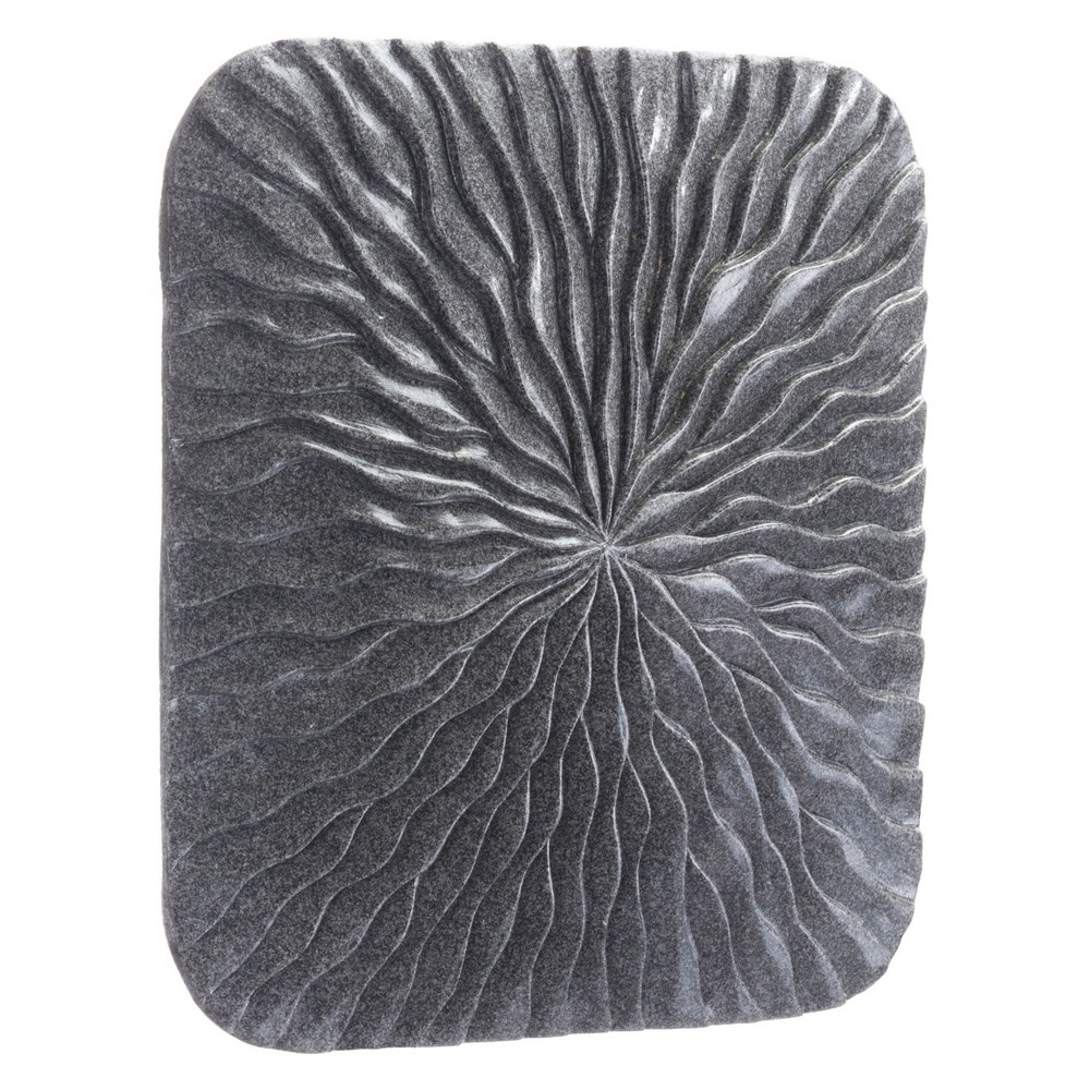 ZM Home 14 Textured Square Wall Sculpture Dark Gray