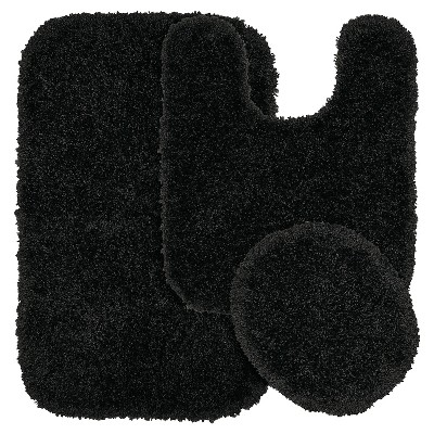 3pc Serendipity Shaggy Washable Nylon Bath Rug Set Black - Garland