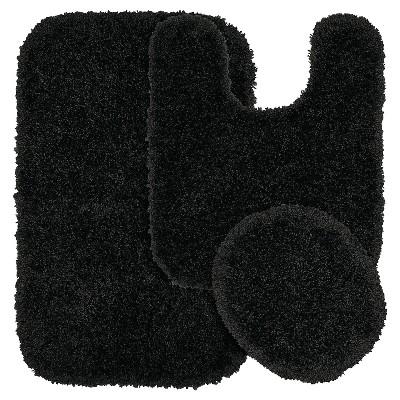 Garland 3 Piece Serendipity Shaggy Washable Nylon Bath Rug Set - Black
