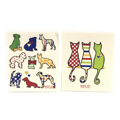 """Swedish Dish Cloth 7.75"""" Dogs And Cats Cleaning Cloth Family Friends  -  Dish Cloth"""