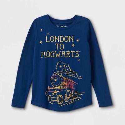 Girls' Harry Potter London To Hogwarts Long Sleeve Graphic T-Shirt - Navy
