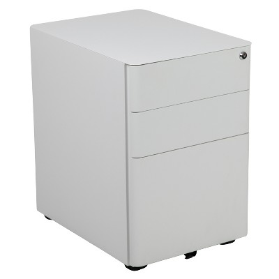 Flash Furniture Modern 3-Drawer Mobile Locking Filing Cabinet with Anti-Tilt Mechanism and Hanging Drawer for Legal & Letter Files