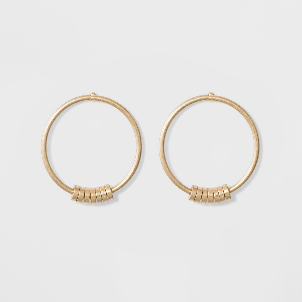 Open Round Wire Hoop Beaded Earrings - Universal Thread Gold