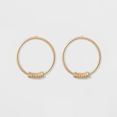 Open Round Wire Hoop Beaded Earrings - Universal Thread™ Gold - image 1 of 3