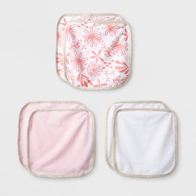 Baby Girls' Blooms and Sprouts 6pk Washcloths - Cloud Island™ White