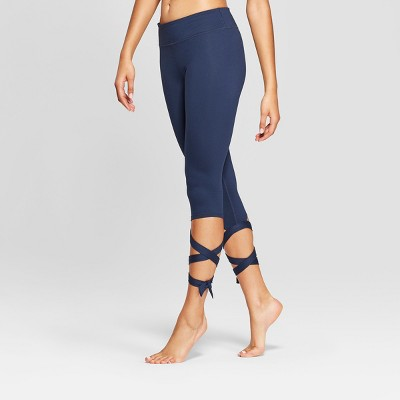 Women's Comfort Side Tie Mid-Rise Capri Leggings - JoyLab™ Navy M