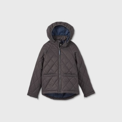 Boys' Adaptive Quilted Jacket - Cat & Jack™ Charcoal Gray XS