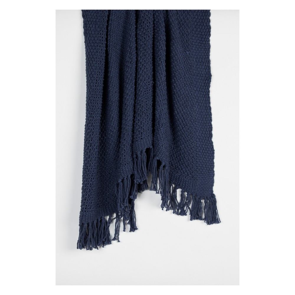 Best Price Throw Blankets 50X60 Indigo Blue Rizzy Home