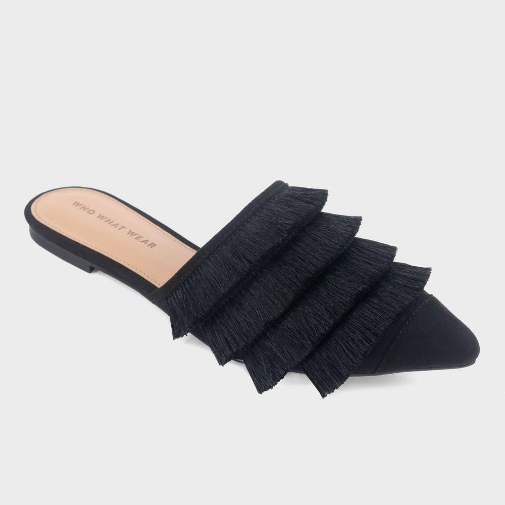 Women's Annie Satin Tassle Pointed Mules - Who What Wear Black 11