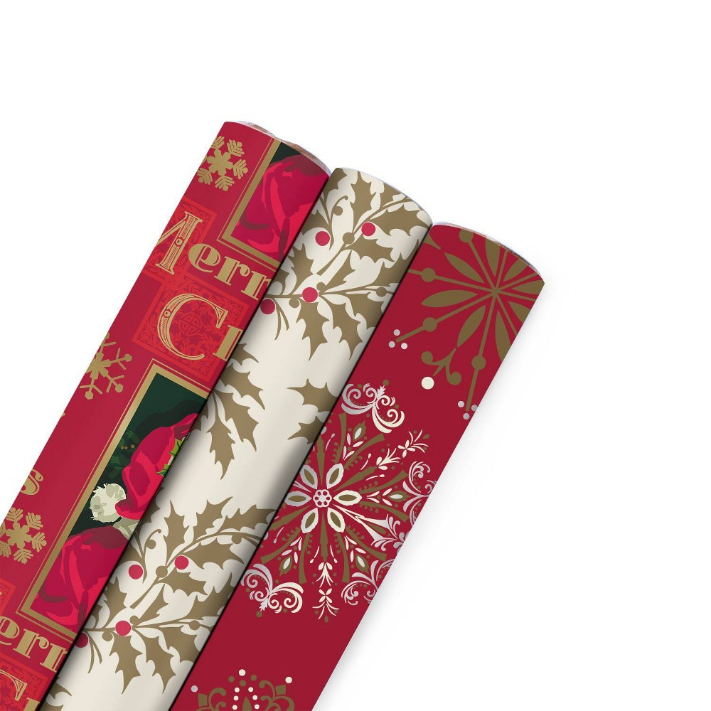 Image of Christmas Gift Wrap Bundle 3ct Gift Wrap/ 3ct Ribbon/ 36ct Peel and Stick Labels Red/Gold