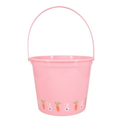 Jumbo Plastic Easter Bucket Printed Boarder with Stickers Pink - Spritz™