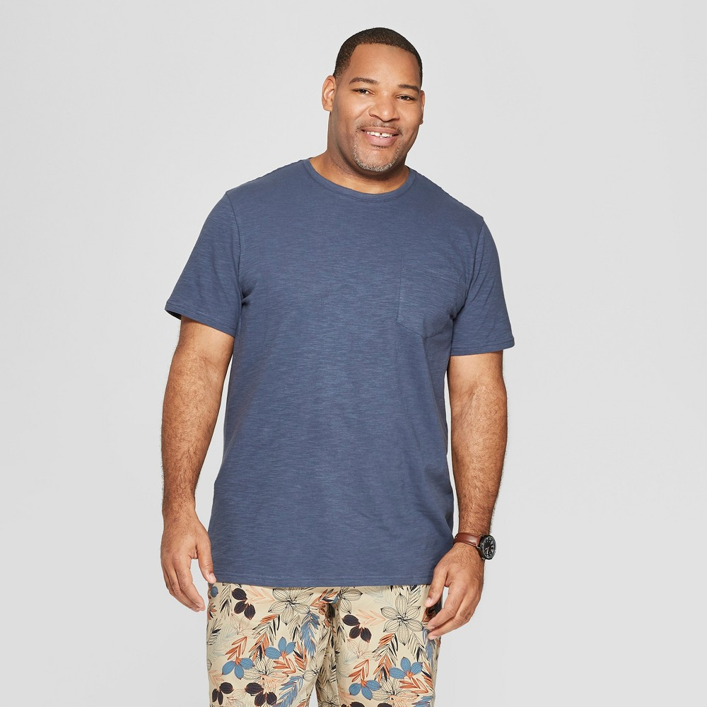 Mens Big & Tall Standard Fit Short Sleeve Crew Neck T-Shirt - Goodfellow & Co Blue 3XB Discounts
