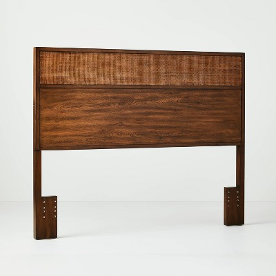 Full/Queen Wood & Cane Transitional Headboard Brown - Hearth & Hand™ with Magnolia