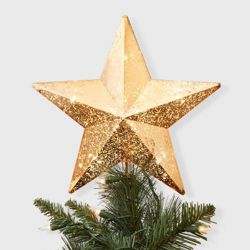 Christmas Tree Star.11 X 9 5 Incandescent Lighted Plastic Star Christmas Tree Topper With Clip Gold Wondershop