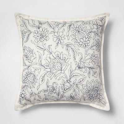 Embroidered Floral Square Throw Pillow Cream/Blue - Threshold™