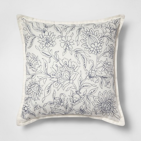 Embroidered Floral Square Throw Pillow - Threshold™ - image 1 of 4