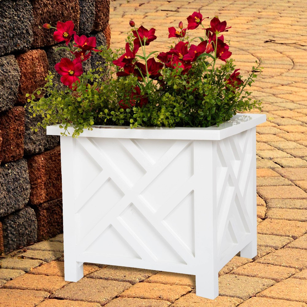 "Image of ""15"""" Square Plant Holder White - Pure Garden"""