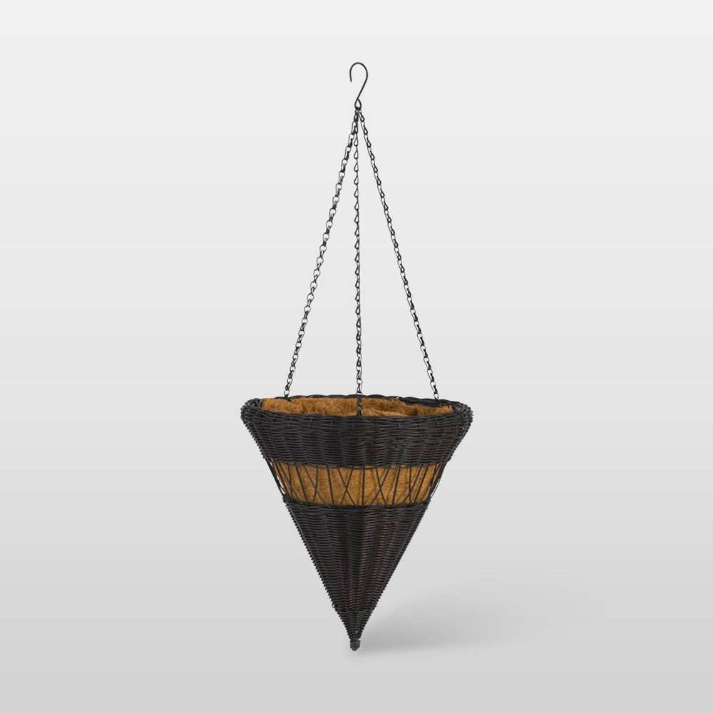"Image of ""14"""" Resin Wicker Cone Hanging Basket Black - DMC Products"""