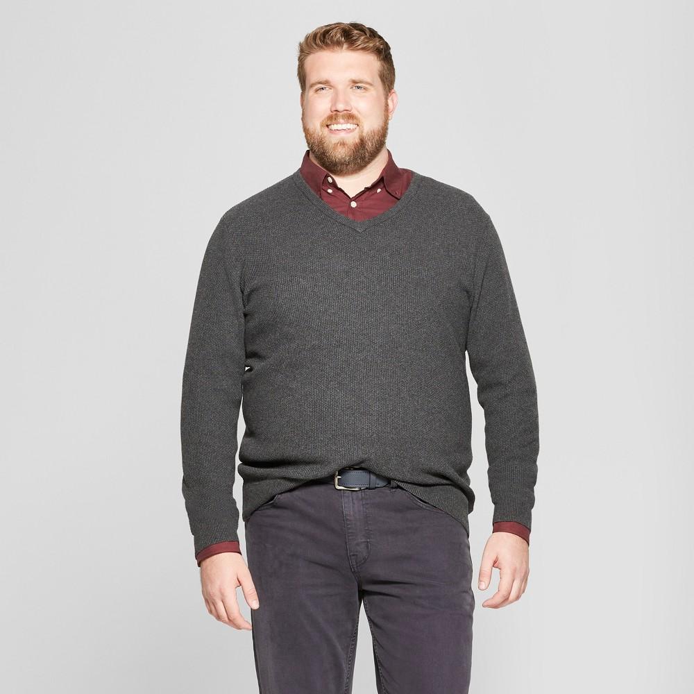 Men's Tall Long Sleeve V-Neck Sweater - Goodfellow & Co Medium Heather Gray LT